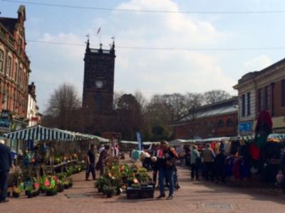 Outdoor market in Burton Market Place
